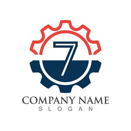 Number 7 logo or symbol creative template design