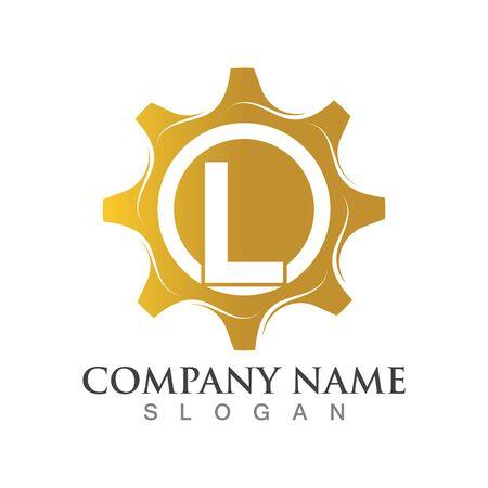 L Letter logo or symbol creative gear template Ilustração