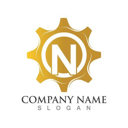 N Letter logo or symbol creative gear template Ilustrace