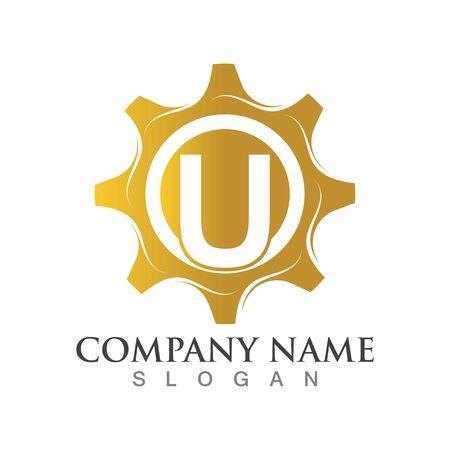 u Letter logo or symbol creative gear template