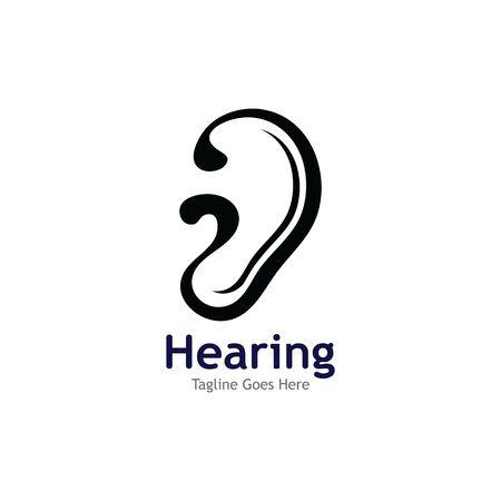 Progettazione dell'illustrazione dell'icona di vettore del modello di logo dell'udito