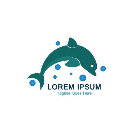 Dolphin smart fish jump logo in the sea template design Ilustração