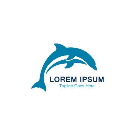Dolphin smart fish jump logo in the sea template design  イラスト・ベクター素材