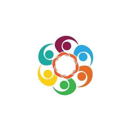 Social Network Team Partner Family Friends logo design template vettoriale