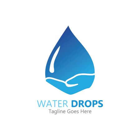water drop in hand logo vector template symbol