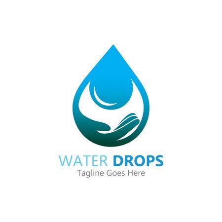 goccia d'acqua in mano logo modello vettoriale simbolo Logo