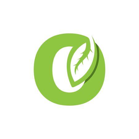 O Letter logo leaf concept template design
