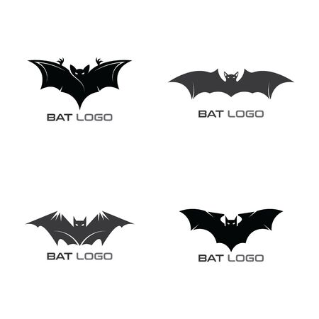 Set of Bat open wings Logo concept elements icon template