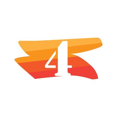 Number 4 Creative logo illustration symbol template Фото со стока - 137841197