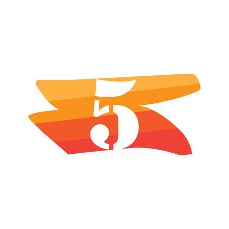 Number 5 Creative logo illustration symbol template