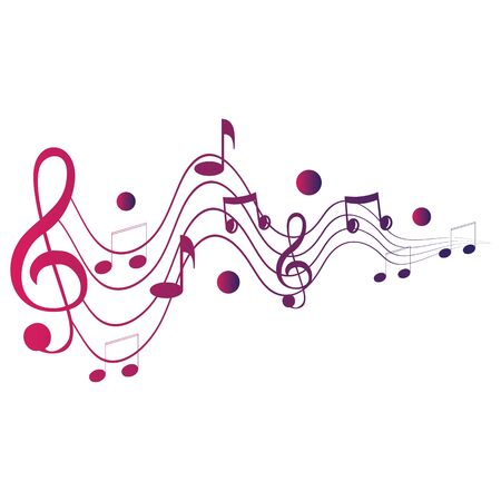 Music notes waving, music background, vector illustration icon Ilustração