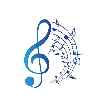Music notes waving, music background, vector illustration icon Фото со стока - 137791550