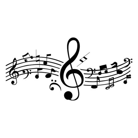 Music notes waving, music background, vector illustration icon Фото со стока - 137792050