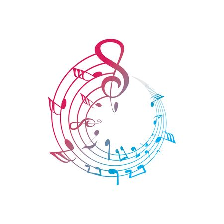 Music notes waving, music background, vector illustration icon Фото со стока - 137792068