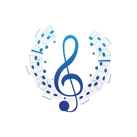 Music notes waving, music background, vector illustration icon Фото со стока - 137841245