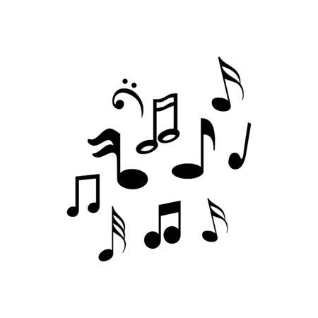 Music notes waving, music background, vector illustration icon Illustration