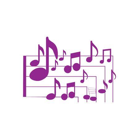 Music notes waving, music background, vector illustration icon Illusztráció