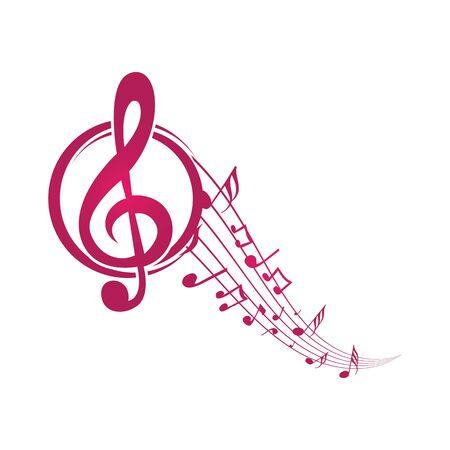 Music notes waving, music background, vector illustration icon Фото со стока - 137794617