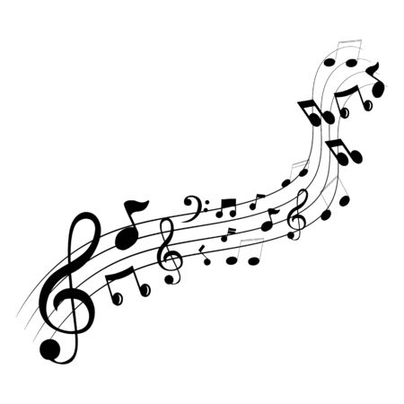 Music notes waving, music background, vector illustration icon Vetores