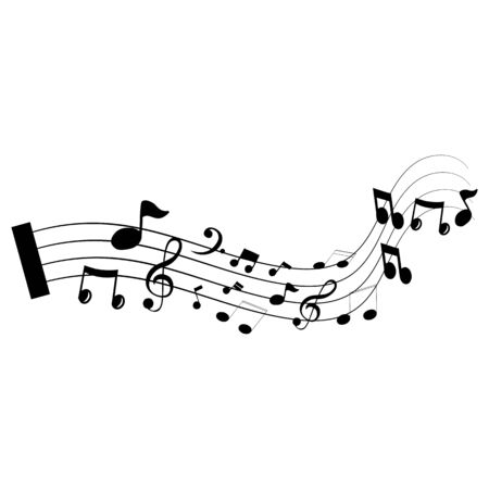 Music notes waving, music background, vector illustration icon Фото со стока - 137794632