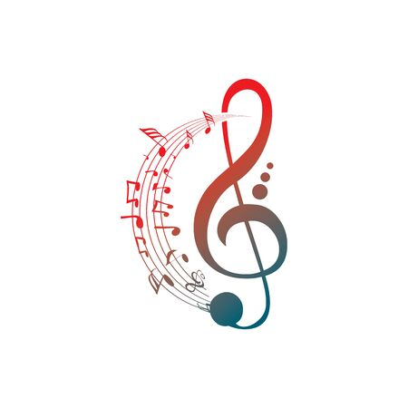 Music notes waving, music background, vector illustration icon Фото со стока - 137794283