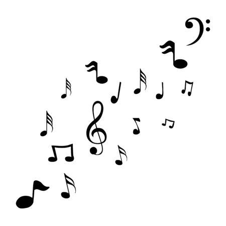 Music notes waving, music background, vector illustration icon Фото со стока - 137841249