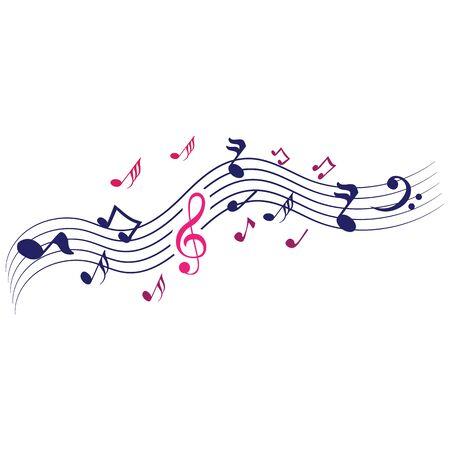 Music notes waving, music background, vector illustration icon Иллюстрация