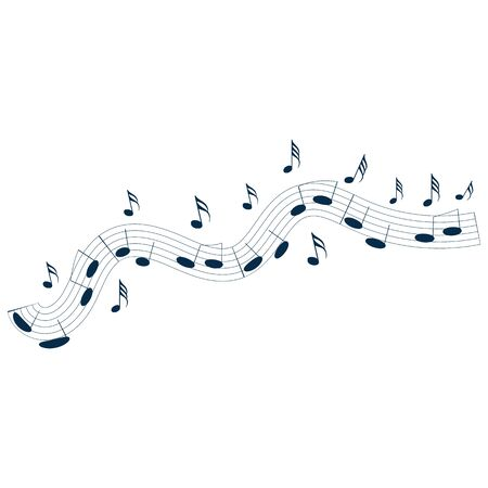 Music notes waving, music background, vector illustration icon Фото со стока - 137797719