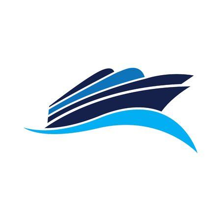 Cruise Ship Logo Simple Template vector icon design