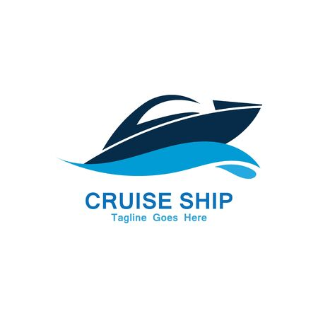 Cruise Ship Logo Simple Template vector icon design