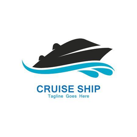 Kreuzfahrtschiff Logo Einfache Vorlage Vektor Icon Design