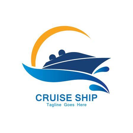 Diseño de icono de vector de plantilla simple de logotipo de crucero