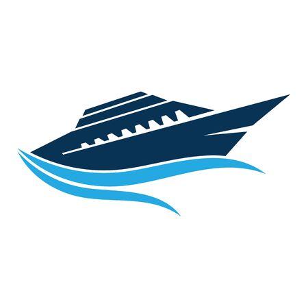 Nave da crociera Ocean Logo Template icona vettore design Logo