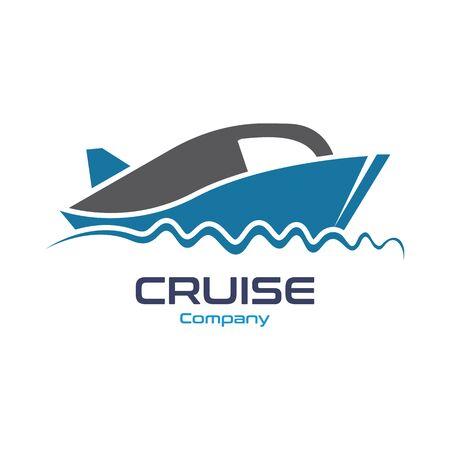 Navire de croisière Ocean Logo Template vecteur icône design Logo