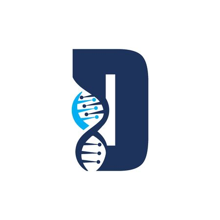 Letter D with DNA logo or symbol Template design vector