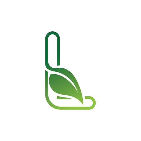L Letter with leaf logo or symbol concept template design