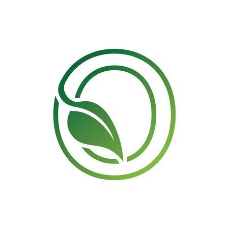 O Letter with leaf logo or symbol concept template design