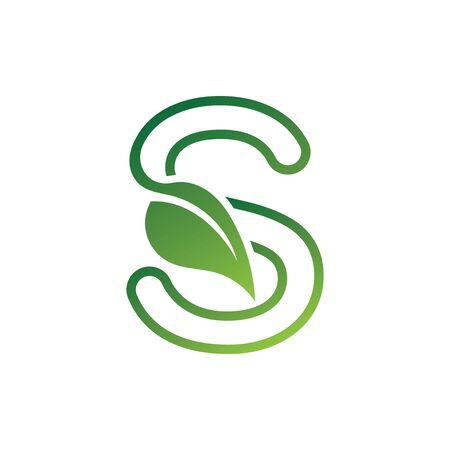 S Letter with leaf logo or symbol concept template design