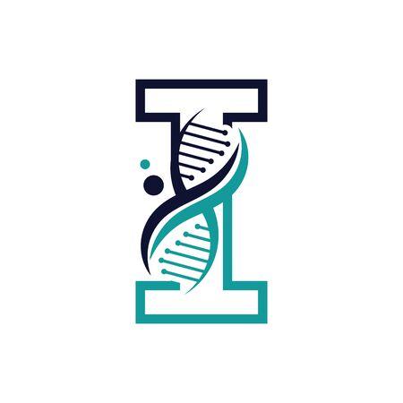 Letter I with DNA logo or symbol Template design vector