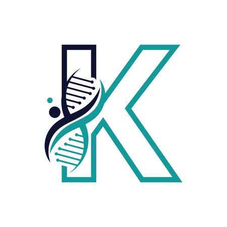 Letter K with DNA logo or symbol Template design vector