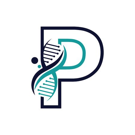Letter P with DNA logo or symbol Template design vector Illustration