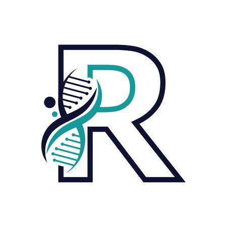 Letter R with DNA logo or symbol Template design vector Illustration