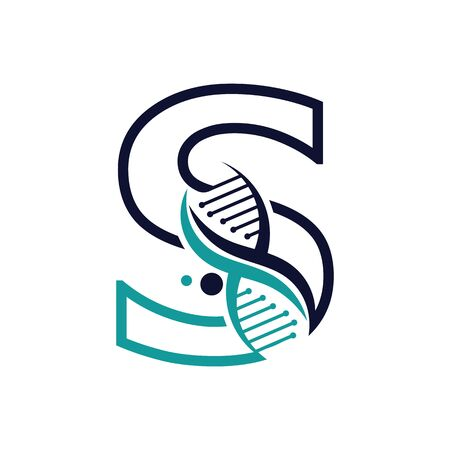 Letter S with DNA logo or symbol Template design vector