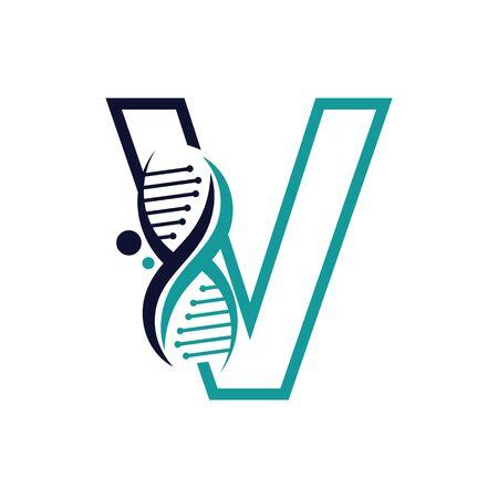 Letter V with DNA logo or symbol Template design vector