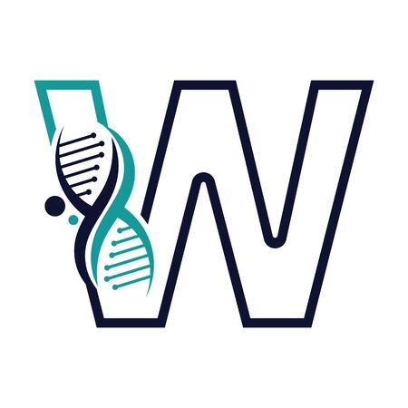 Letter W with DNA logo or symbol Template design vector