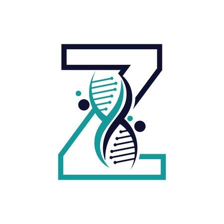 Letter Z with DNA logo or symbol Template design vector