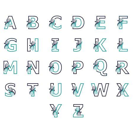 Alphabet with DNA logo or symbol Template design vector