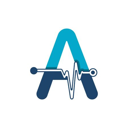 Letter A with Pulse Logo Vector Element Symbol Template Иллюстрация
