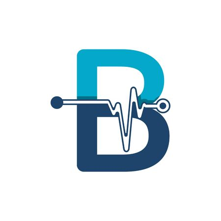 Letter B with Pulse Logo Vector Element Symbol Template