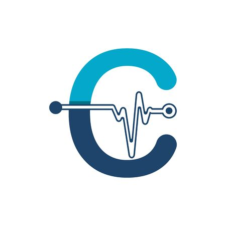 Letter C with Pulse Logo Vector Element Symbol Template